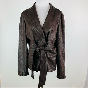 Joseph Ribkoff Brown Faux Leather Tie Front Jacket